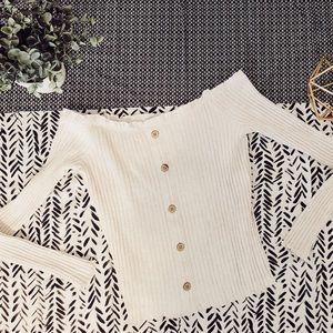 Cream Off the Shoulder Ribbed Top